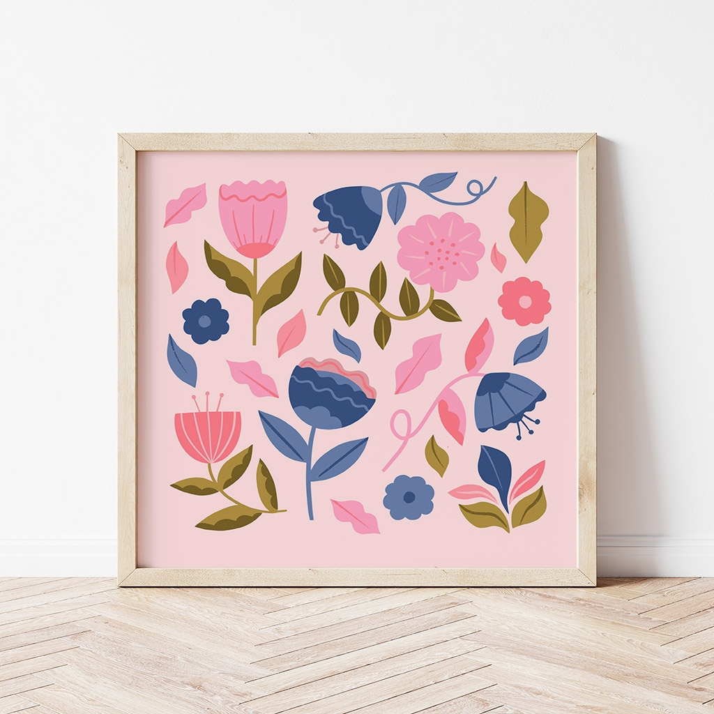'Abstract Flowers' Square Digital Print