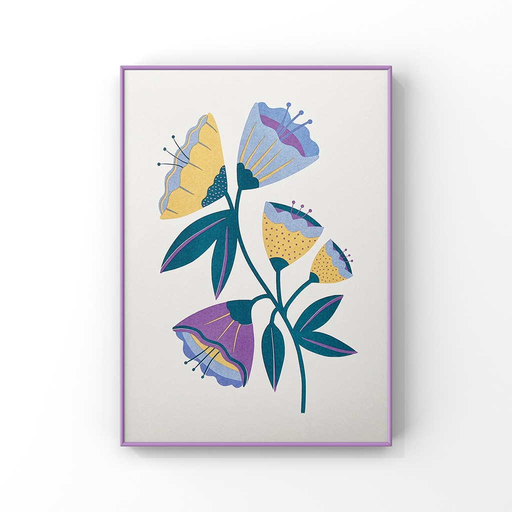'Abstract Flowers' A4 Risograph Print