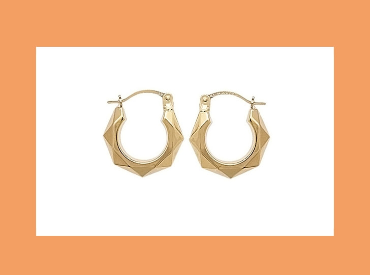 9ct Gold Triangle Detail Mini Creole Hoops