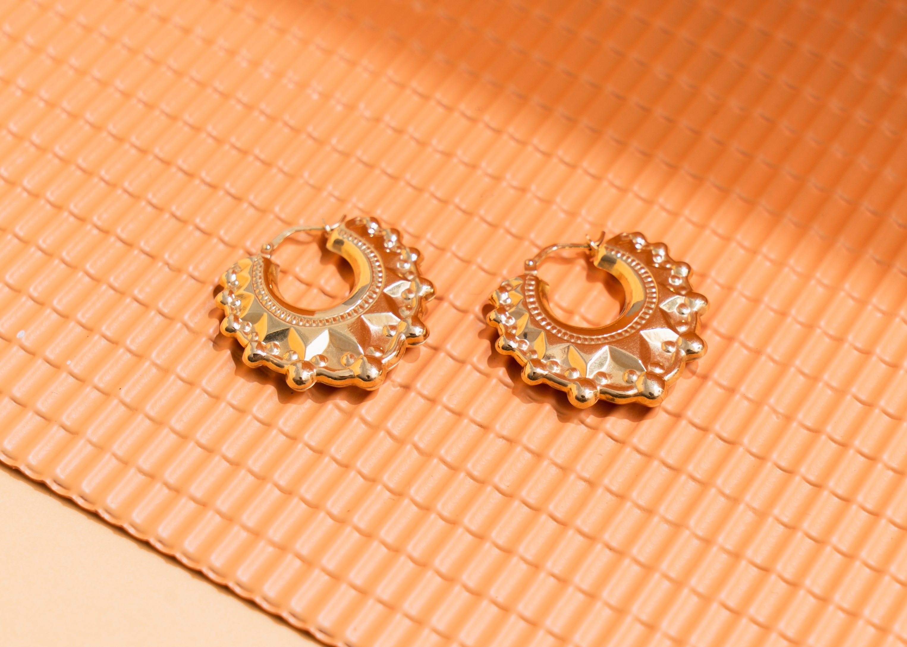 9ct Gold V-Shaped Round Creole Earrings Large