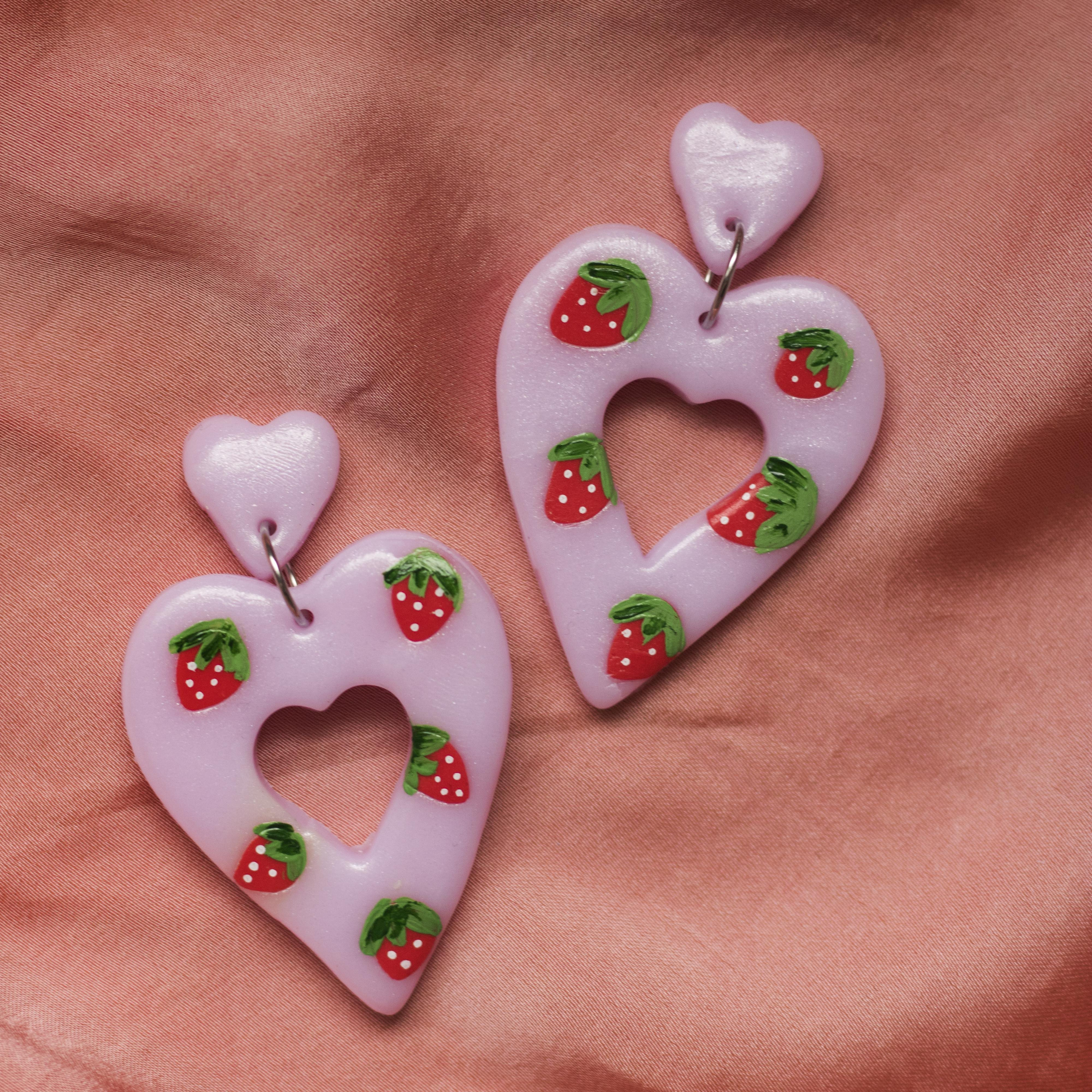 Strawberry red and pink patterned chunky heart earrings