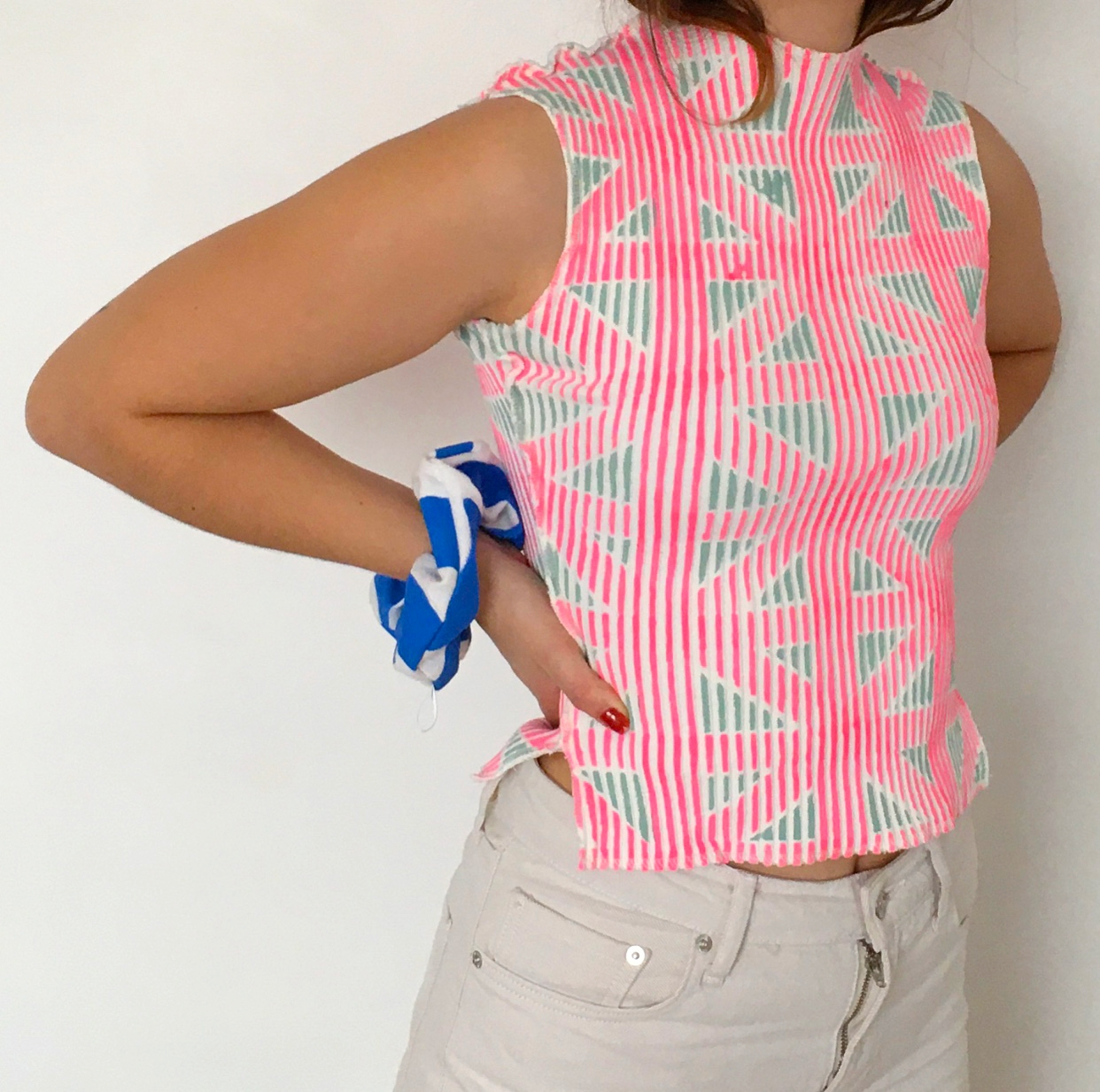 Green n Pink High Neck Top
