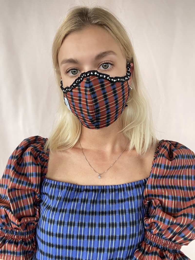 RED CHECK FACE MASK