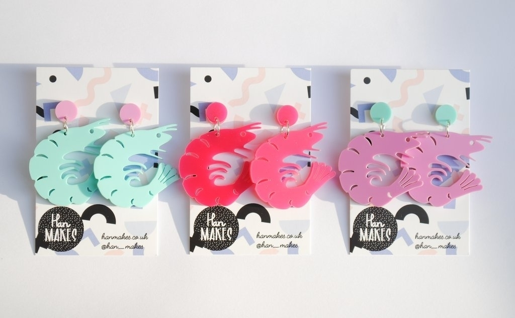 Prawn Stud Dangles - Available in 3 Colours