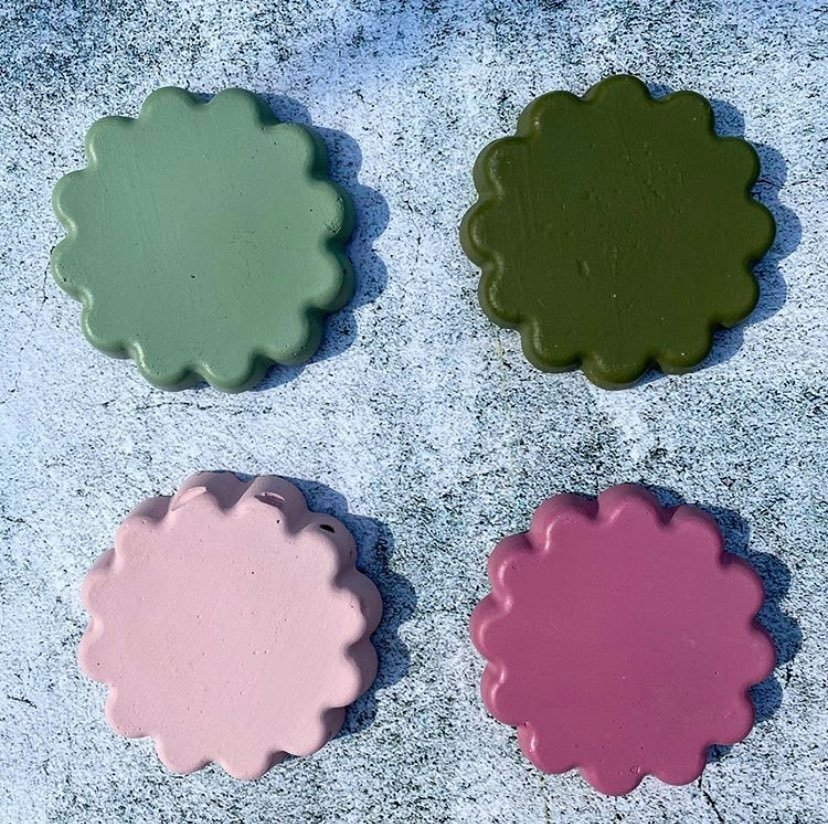 Set of Four Scalloped Cement Coasters
