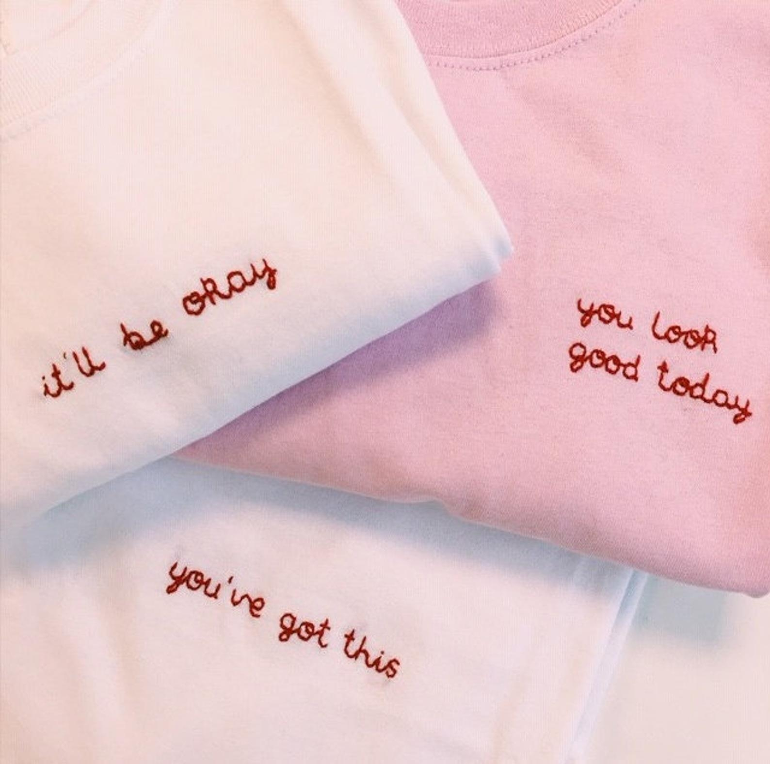 Personalised Saying Hand Embroidered T-Shirt