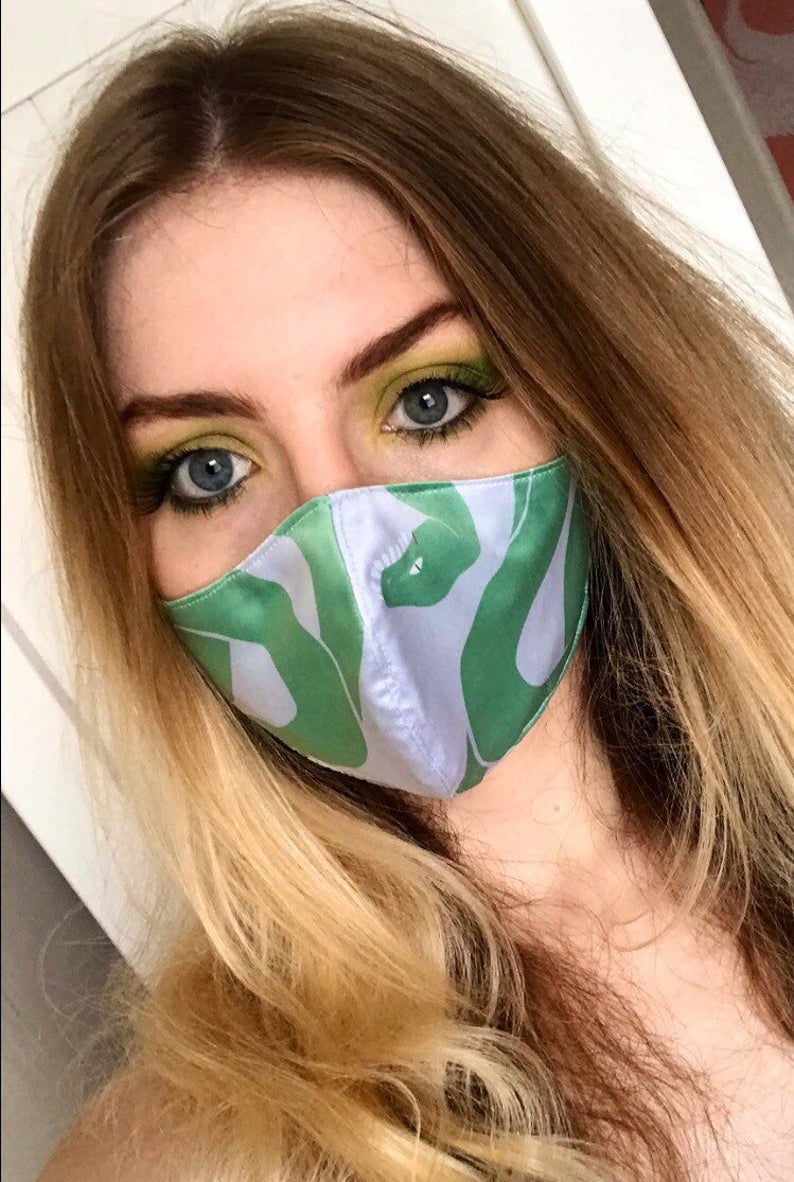 Handmade in UK - reusable printed snake print face mask- double layer- face covering - adjustable - filter pocket - washable