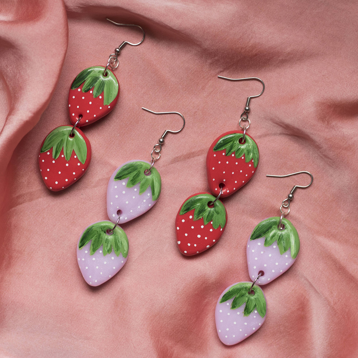 Double Red / Pink Strawberry Drop Summer Earrings