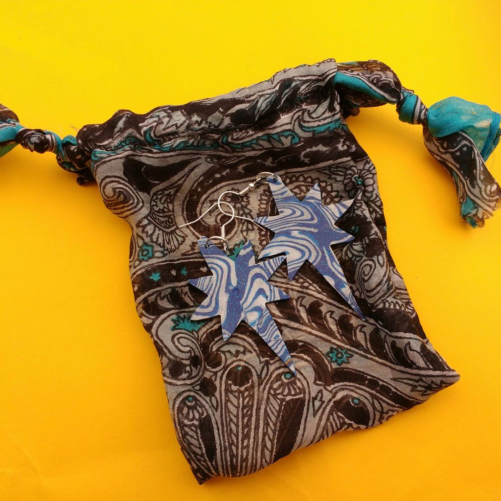 Marble Star Earrings with Recycled Silk Bag Gift Set | Hand Cut Polymer Clay Earrings