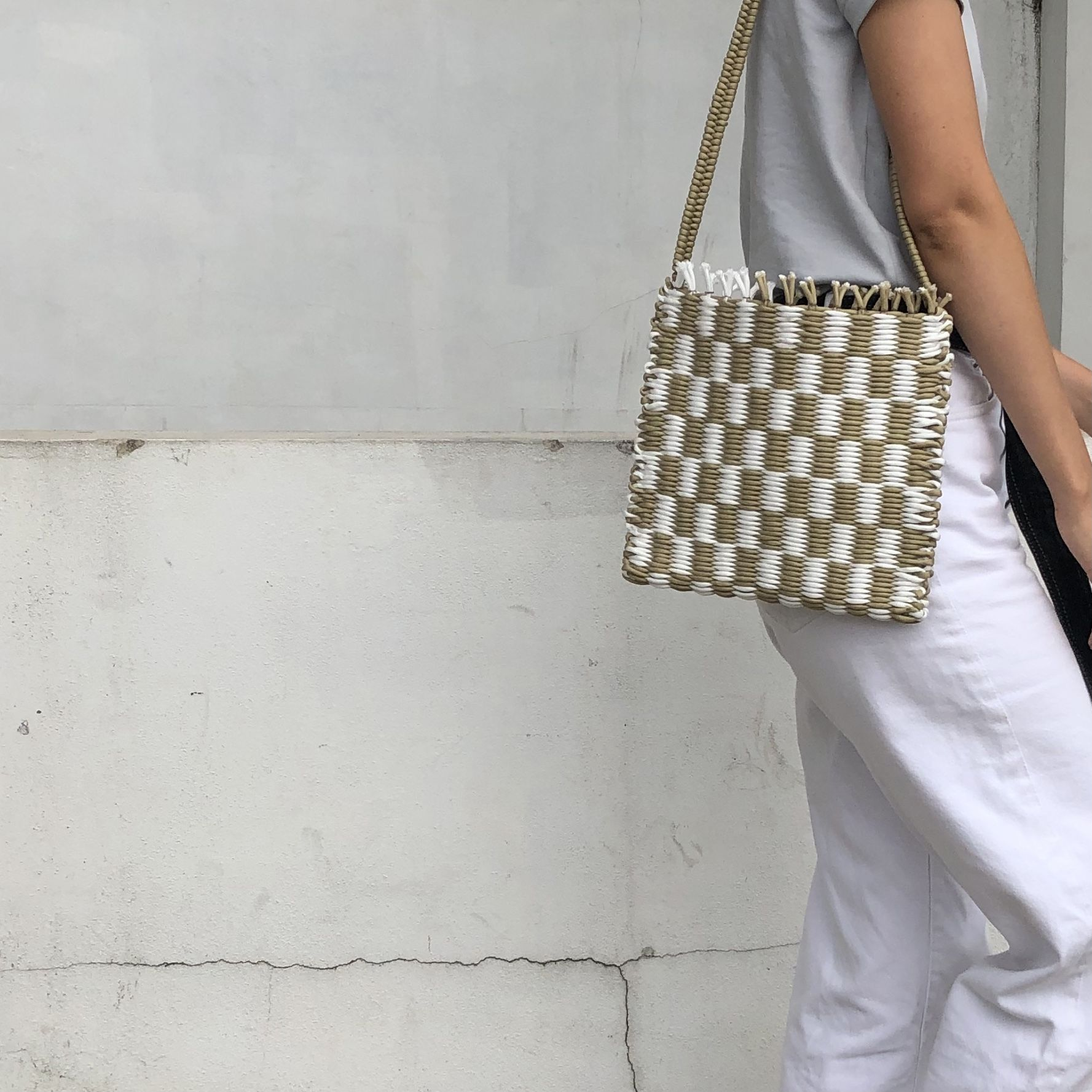 Beige and White Cord Checkerboard Handwoven Bag