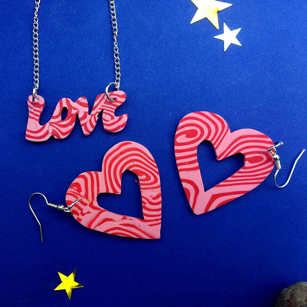 Love Necklace & Heart Earring Gift Set | Hand Cut Polymer Clay Jewellery Gift