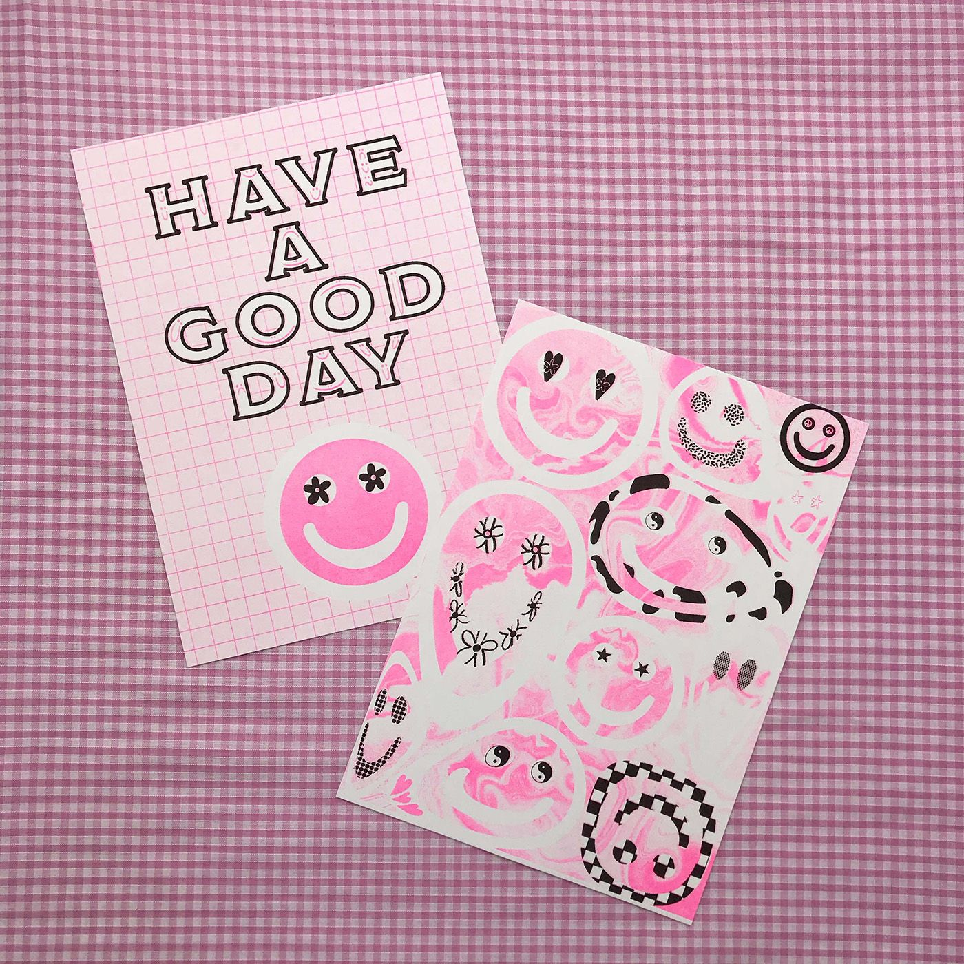Have a good day :) - 2 X A5 risograph prints