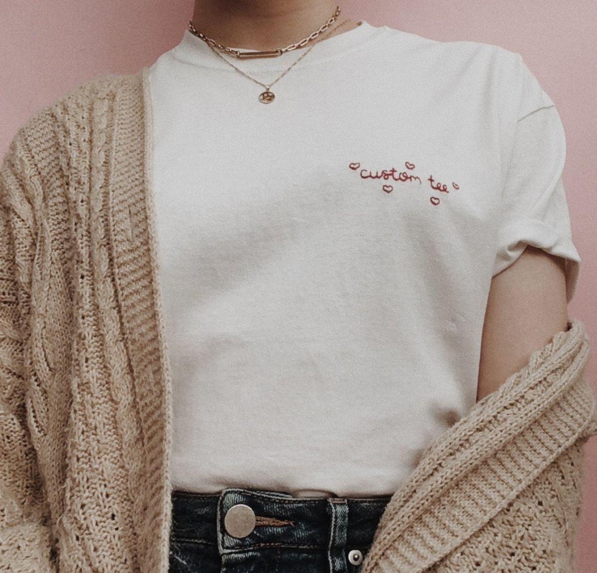 Personalised Hand Embroidered Heart T-Shirt