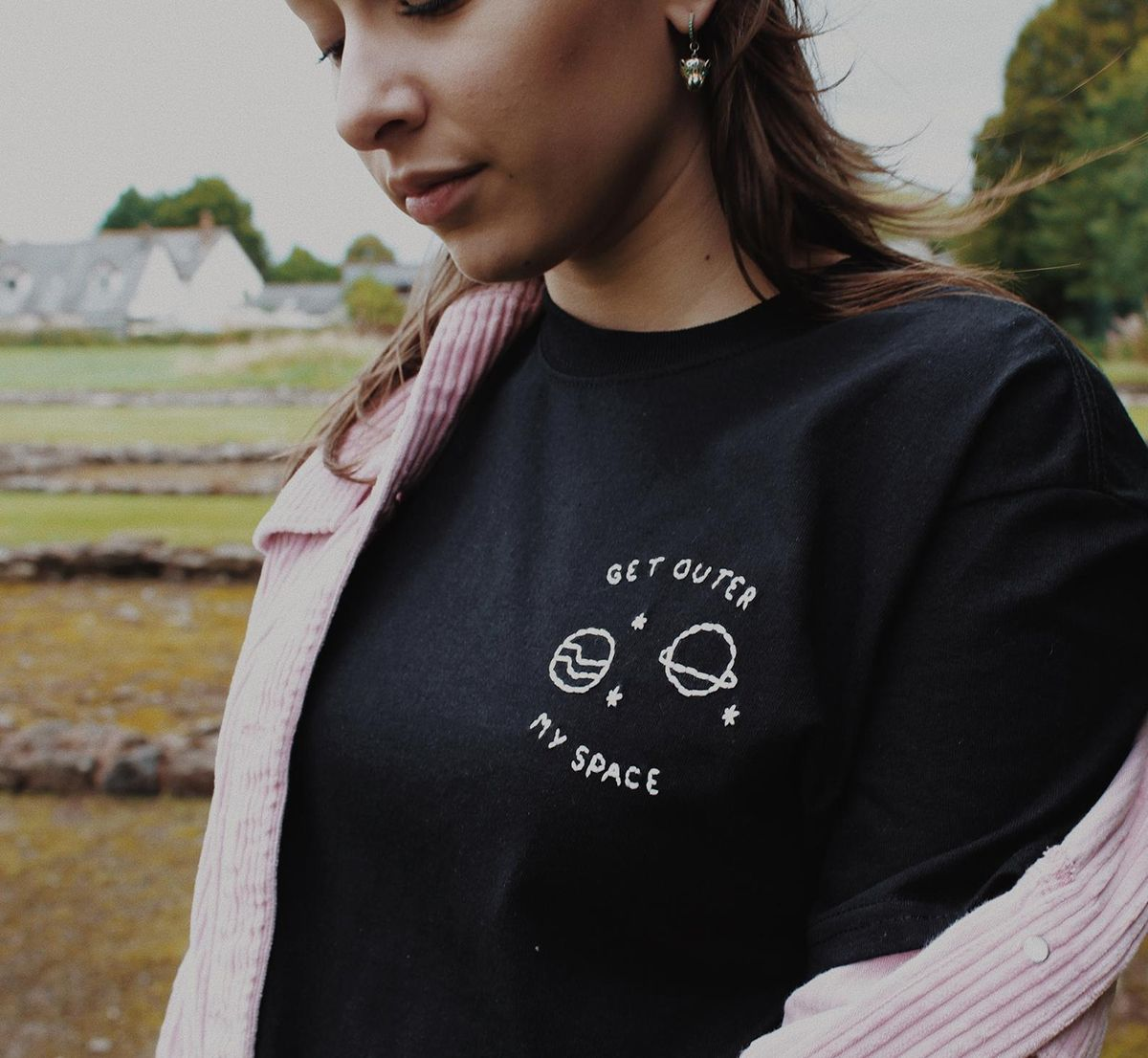 Hand Embroidered 'Get Outer My Space' T-Shirt