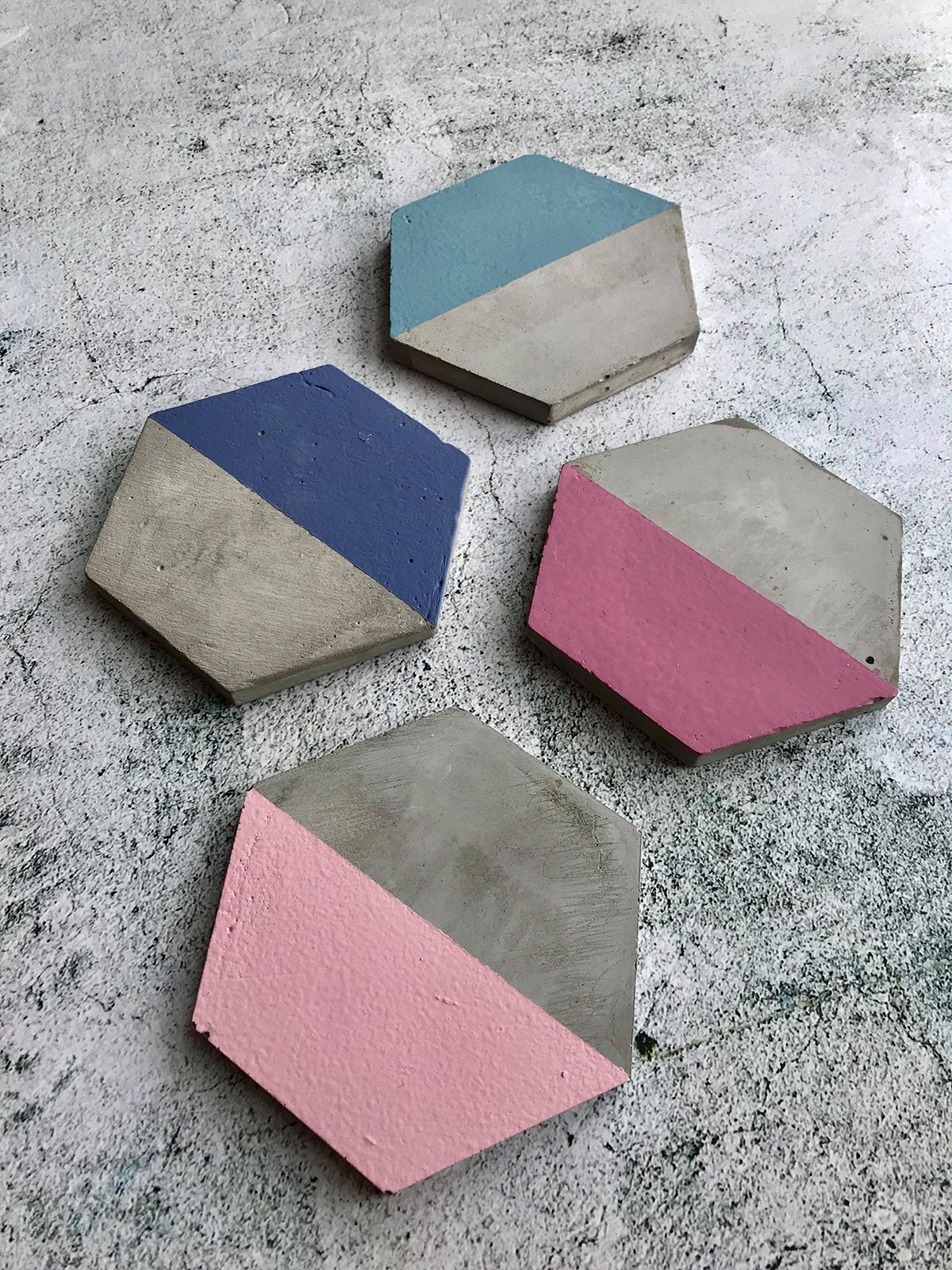 Set of Four Hexagon Cement Coasters - Blue & Pink