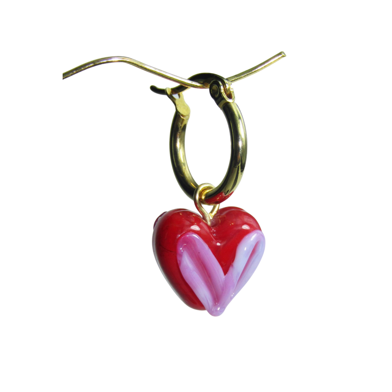 Red & Pink Heart of Glass Hoop