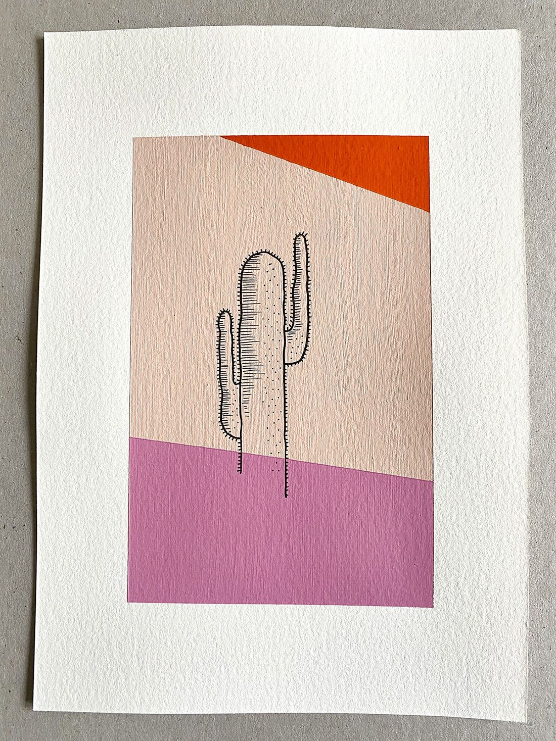 Pink Cactus - Painting