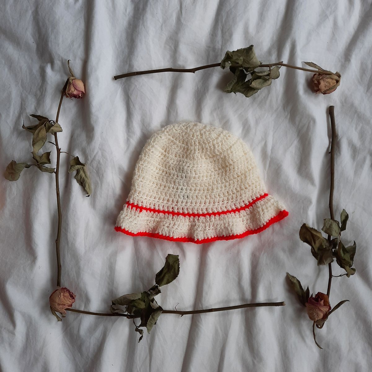 Cream and Red Bucket Hat