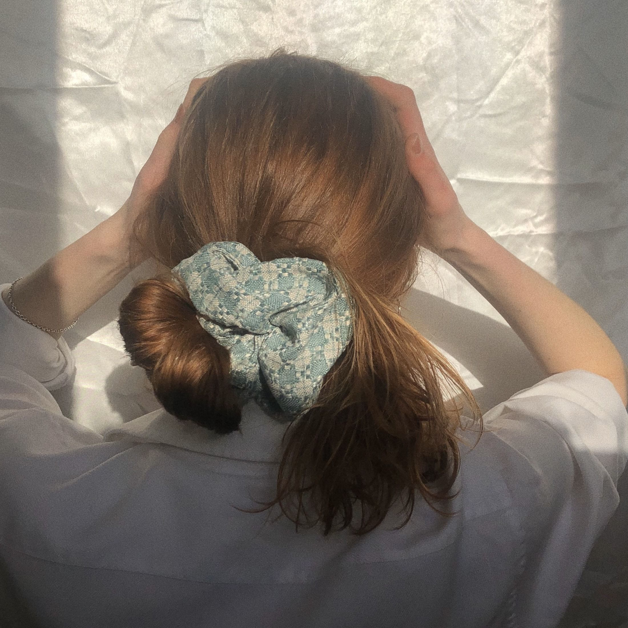 Forget-me-not Tweed Oversized Scrunchie