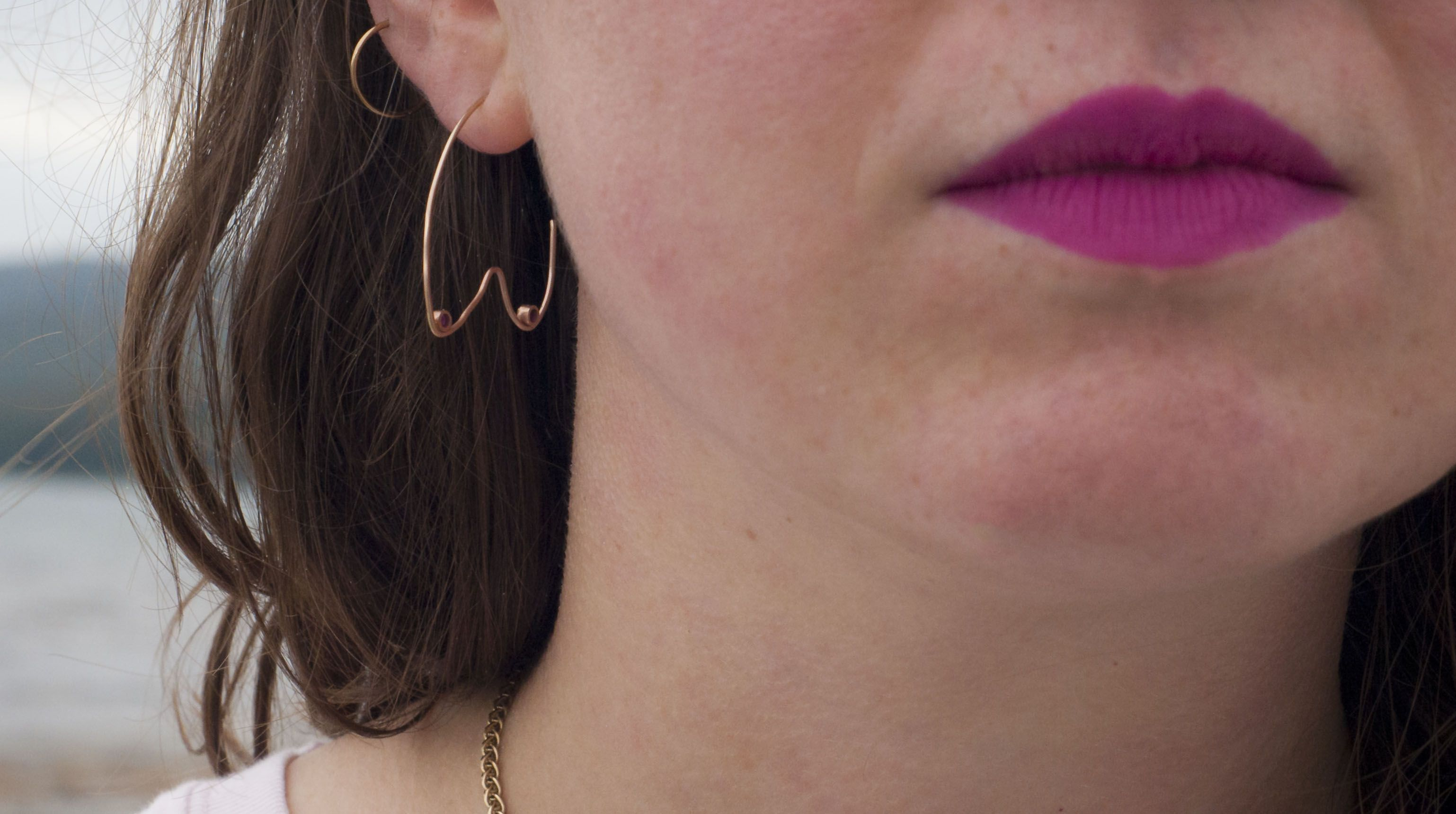 Ruby Boobie earrings (100% recycled gold and Swarovski crystal)
