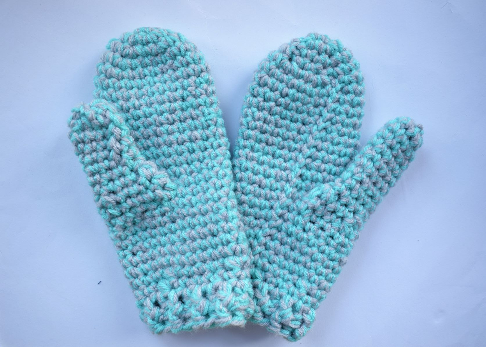 Crochet Grey and Turquoise Marl Mittens