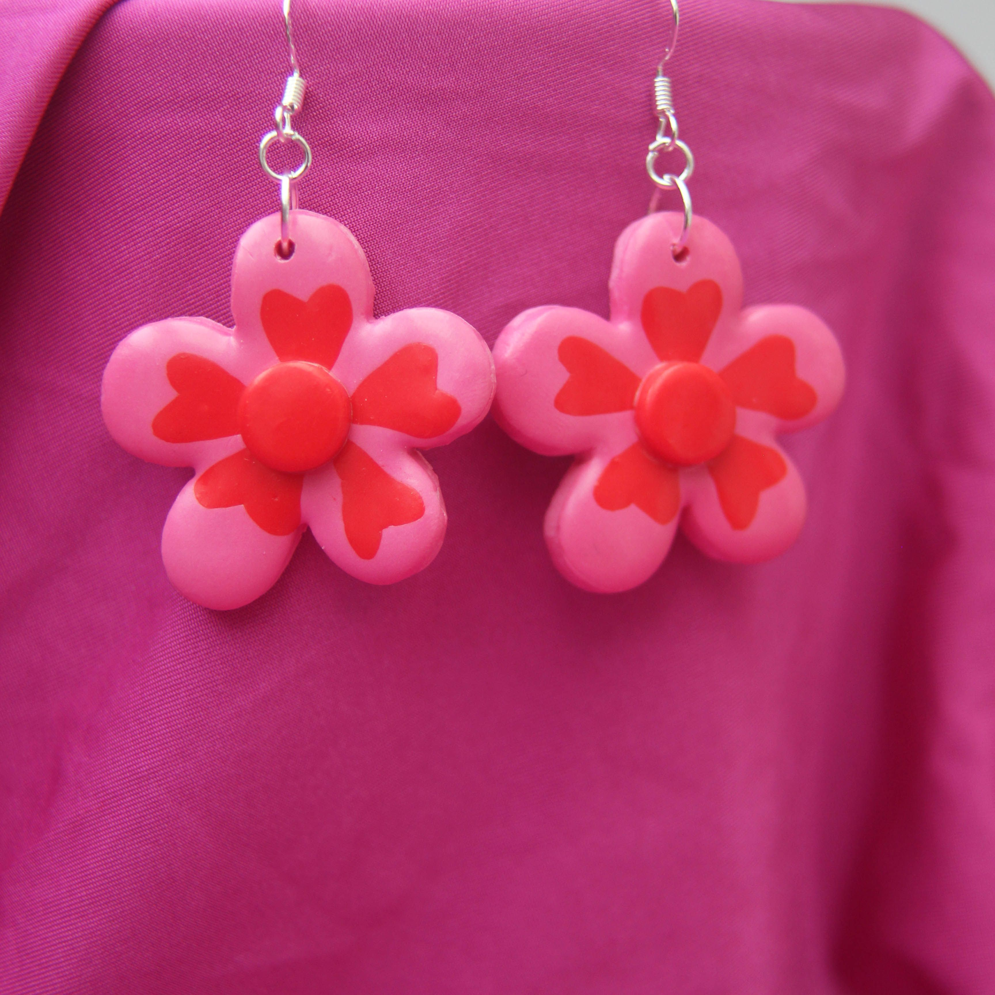Handmade Flower Earrings - Valentine's Day Collection
