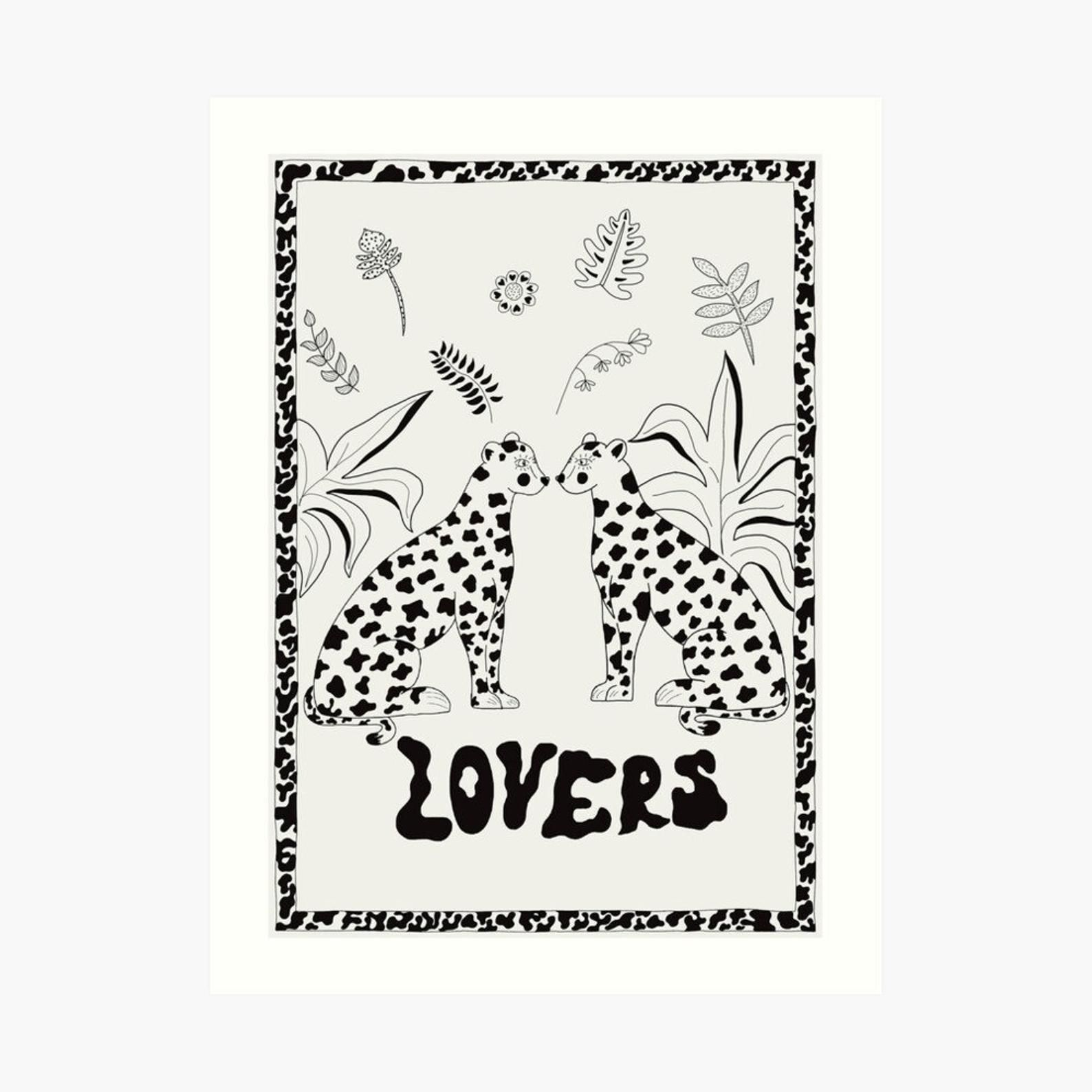 Lovers leopards A4 print