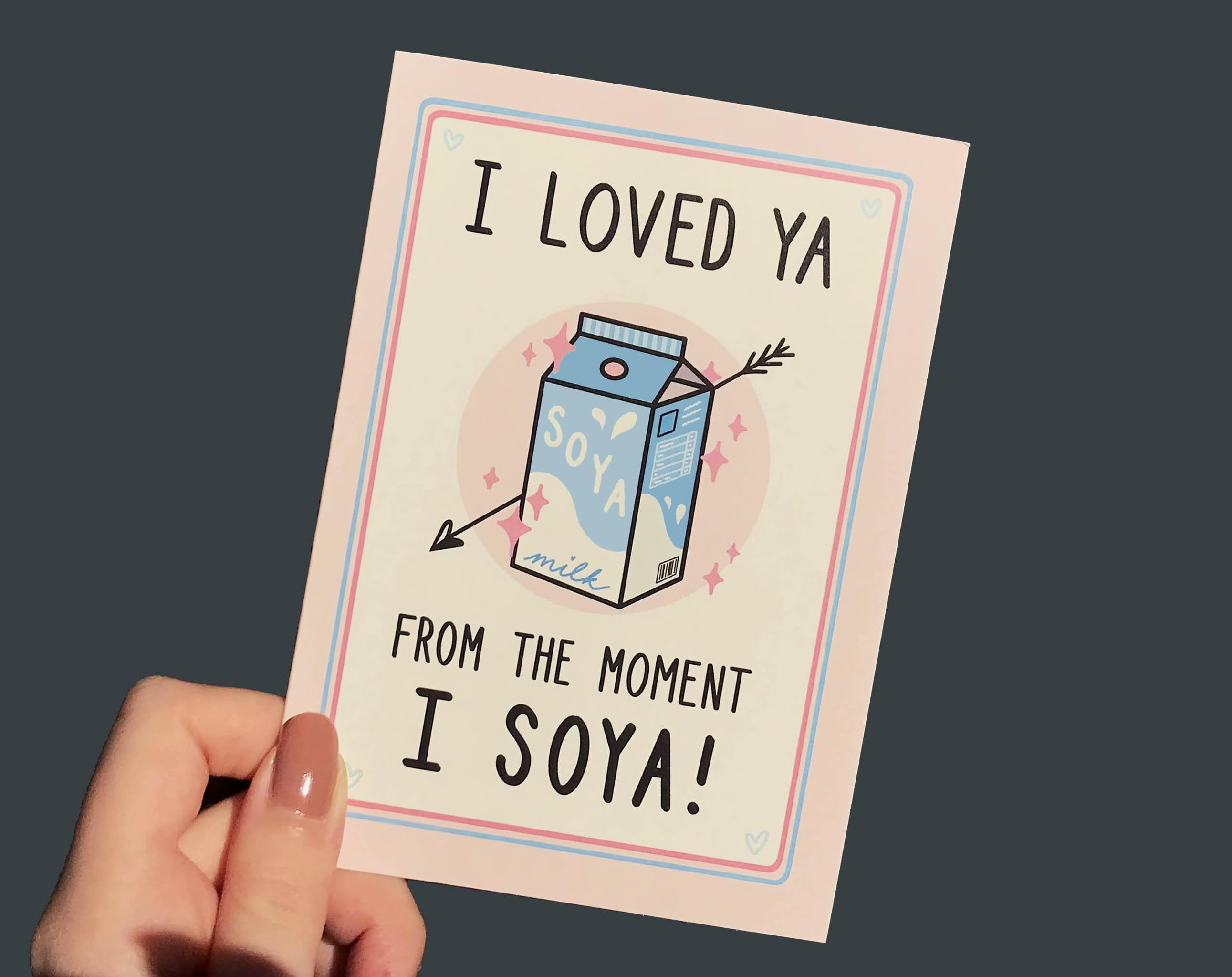 Funny Vegan Soya Milk Valentines Anniversary Card | Biodegradable Recycled Paper