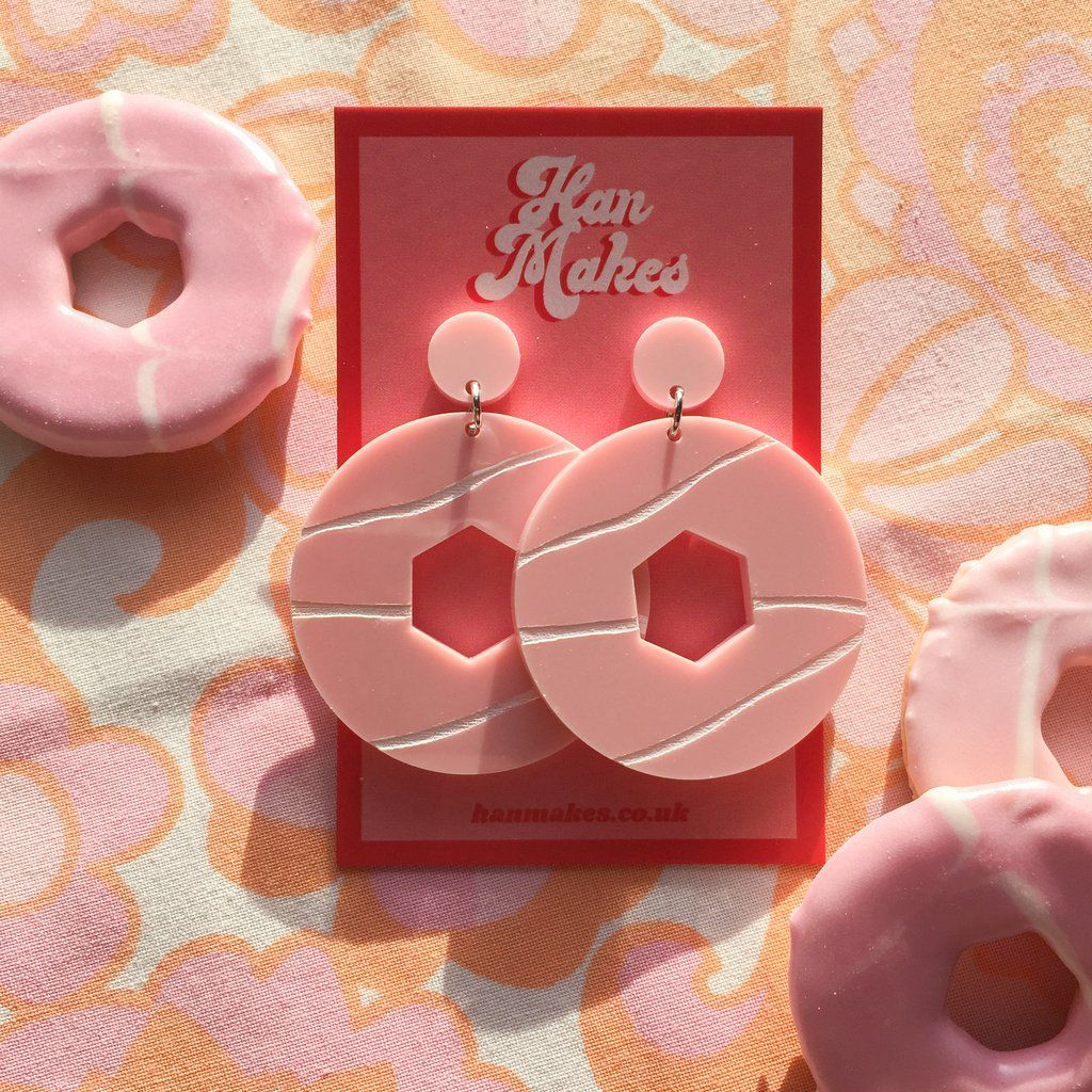Party Ring Earrings - Pastel Pink