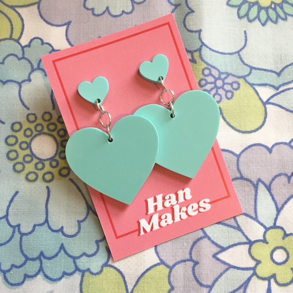 Two Tier Heart Studs - Turquoise