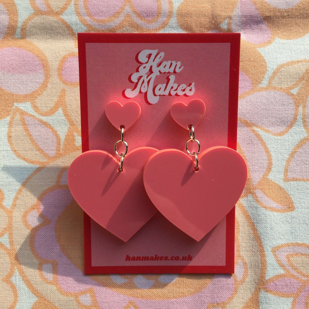 Two Tier Heart Studs - Coral