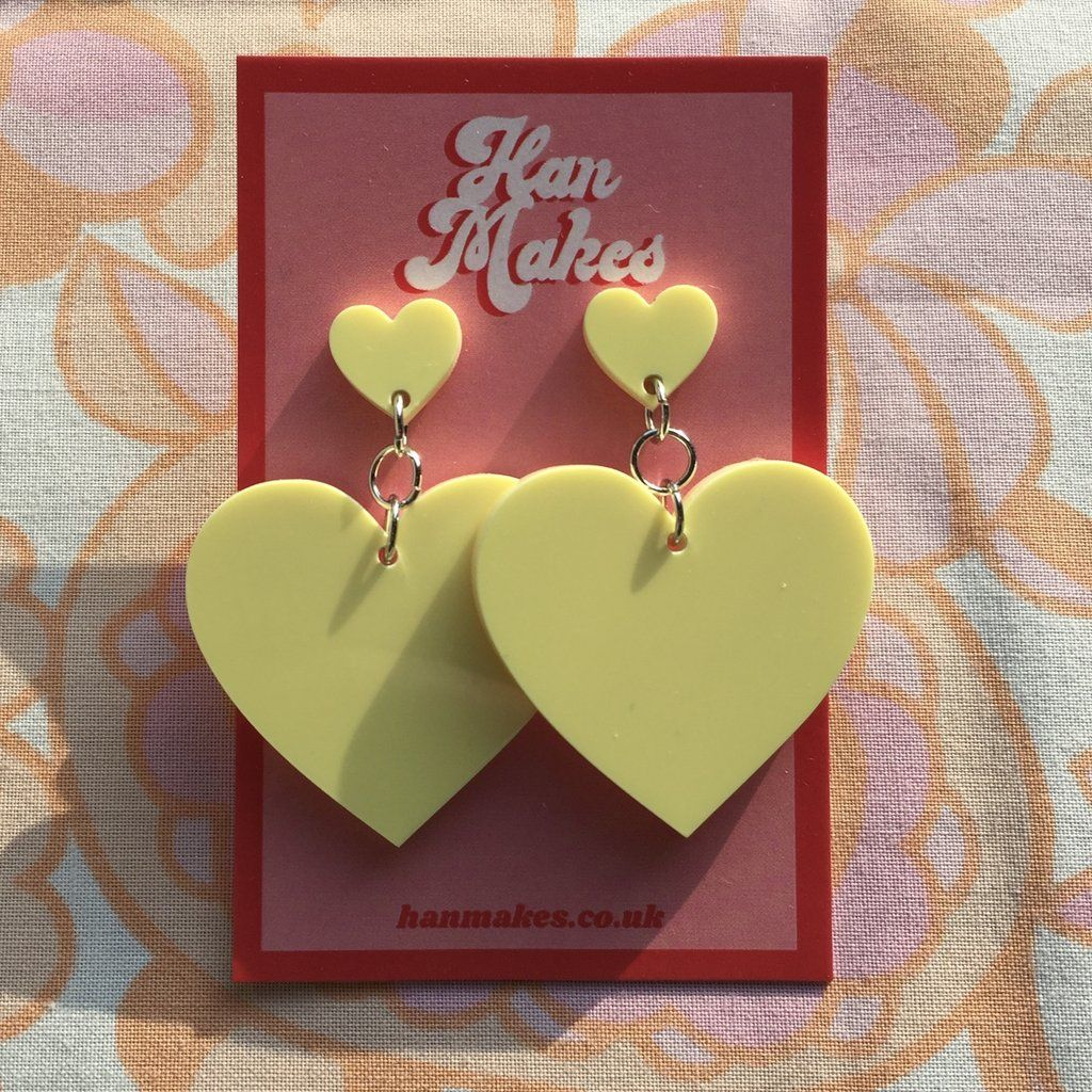 Two Tier Heart Studs - Pastel Yellow