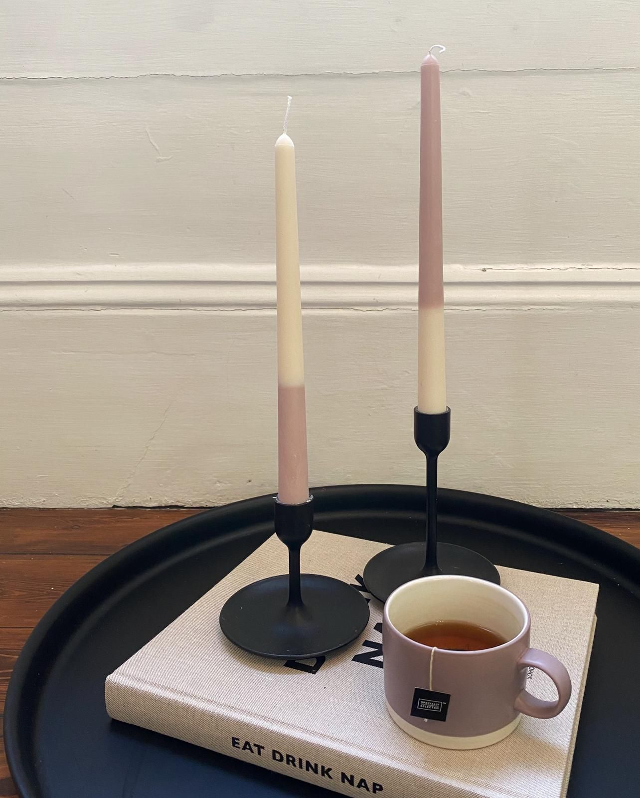 Funky Double Stripe Drip Candle - 2 Taper Candles in one pack (please note: These are HANDMADE, no two are exactly the same)
