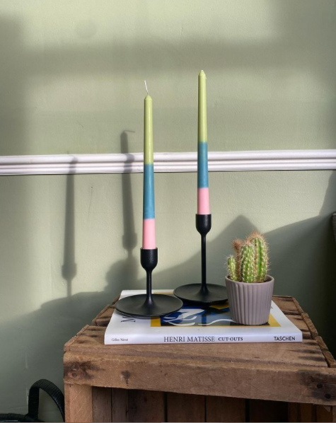 Funky Triple Stripe Drip Candle - 2 Taper Candles in one pack (please note: These are HANDMADE, no two are exactly the same)