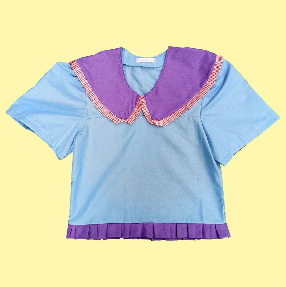 One of a kind blue shirt with purple collar and ruffle
