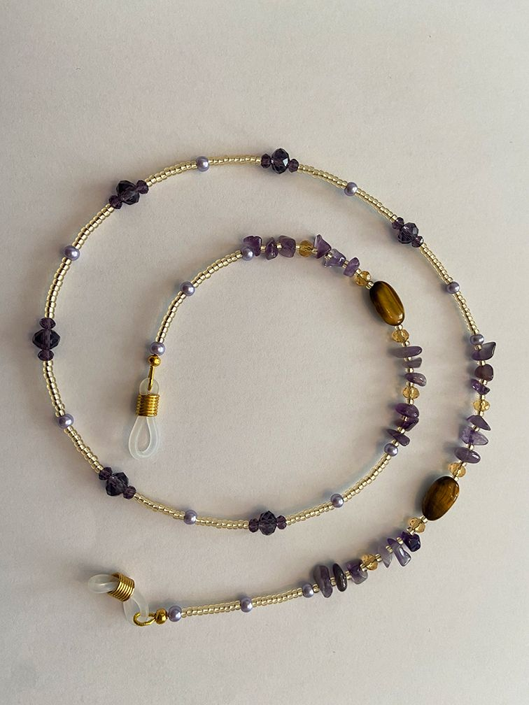 Handmade Amethyst Crystal & Tiger Eye Glasses Spectacle Chain