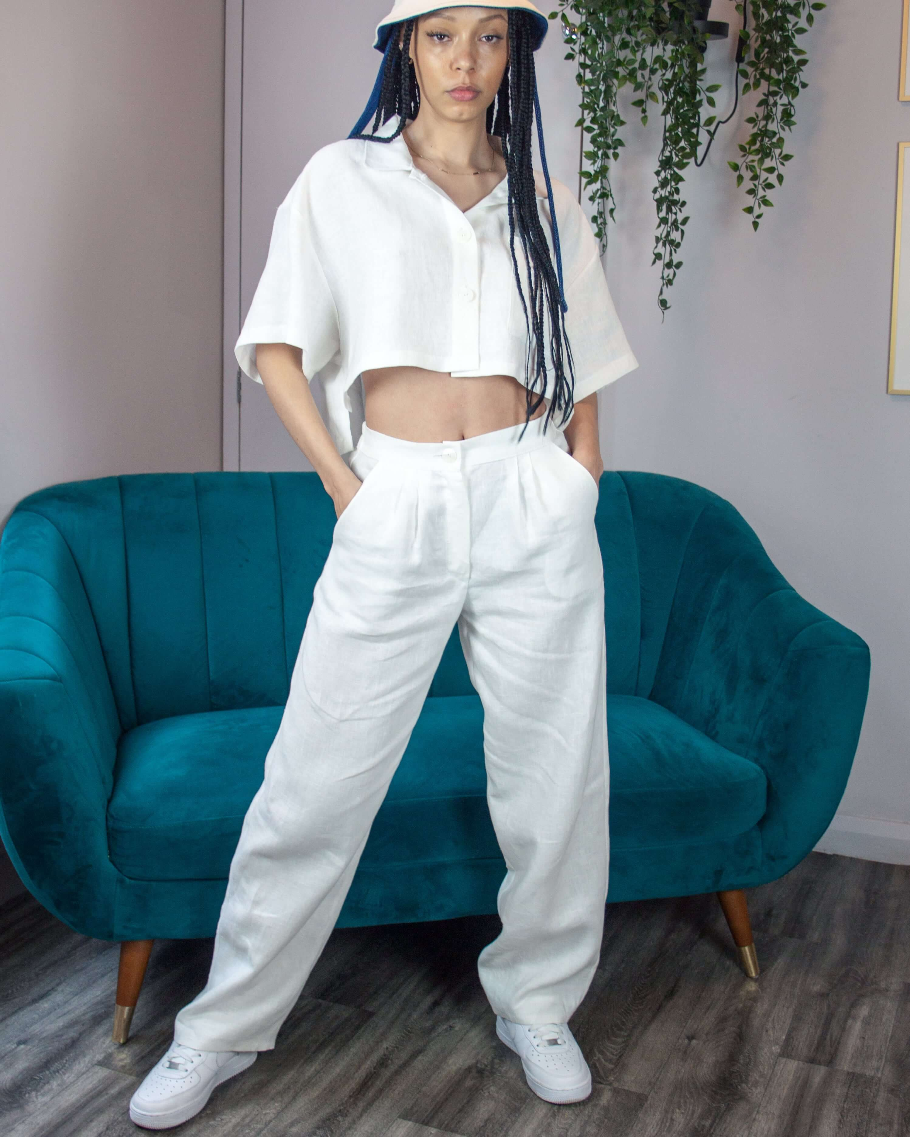 White Linen Slouchy Trousers
