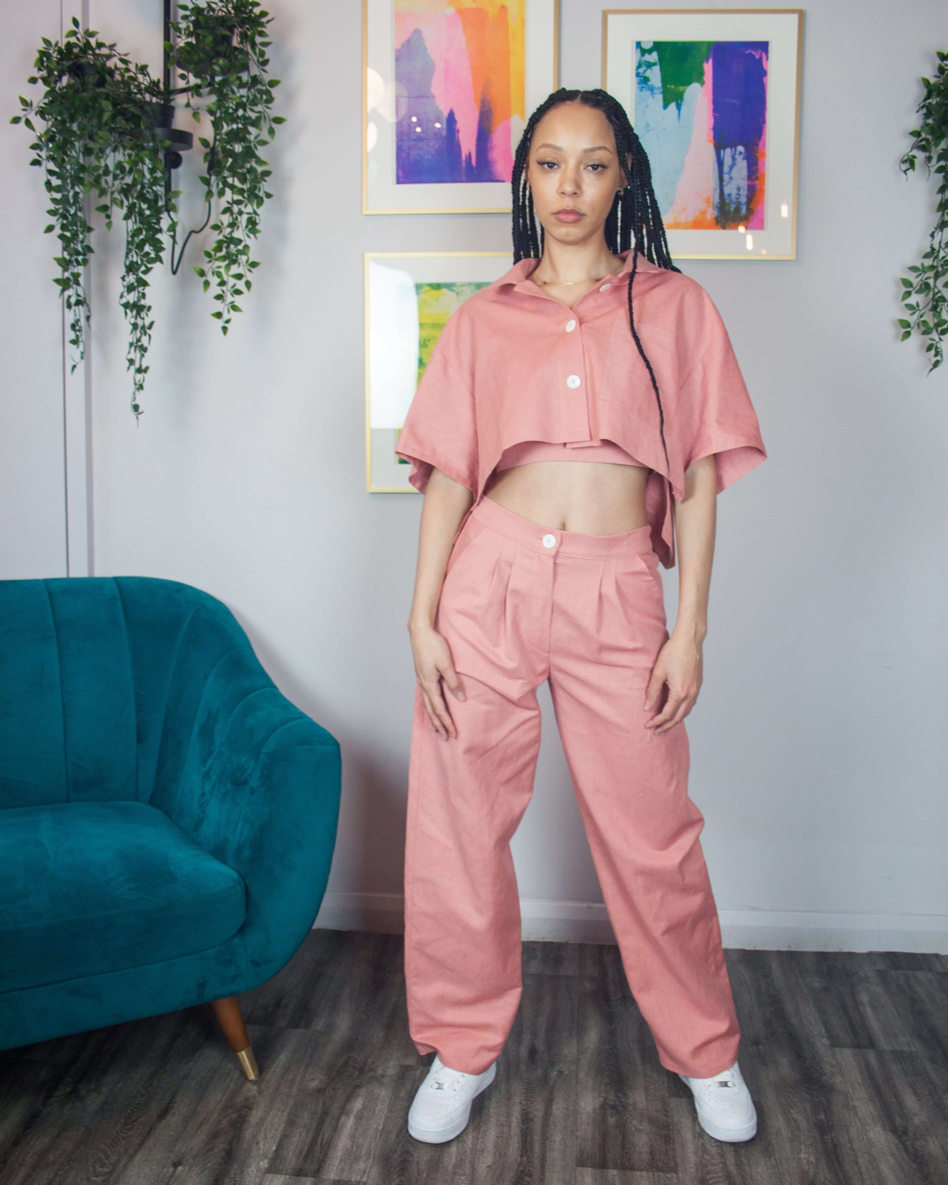 Pink Linen Slouchy Trousers