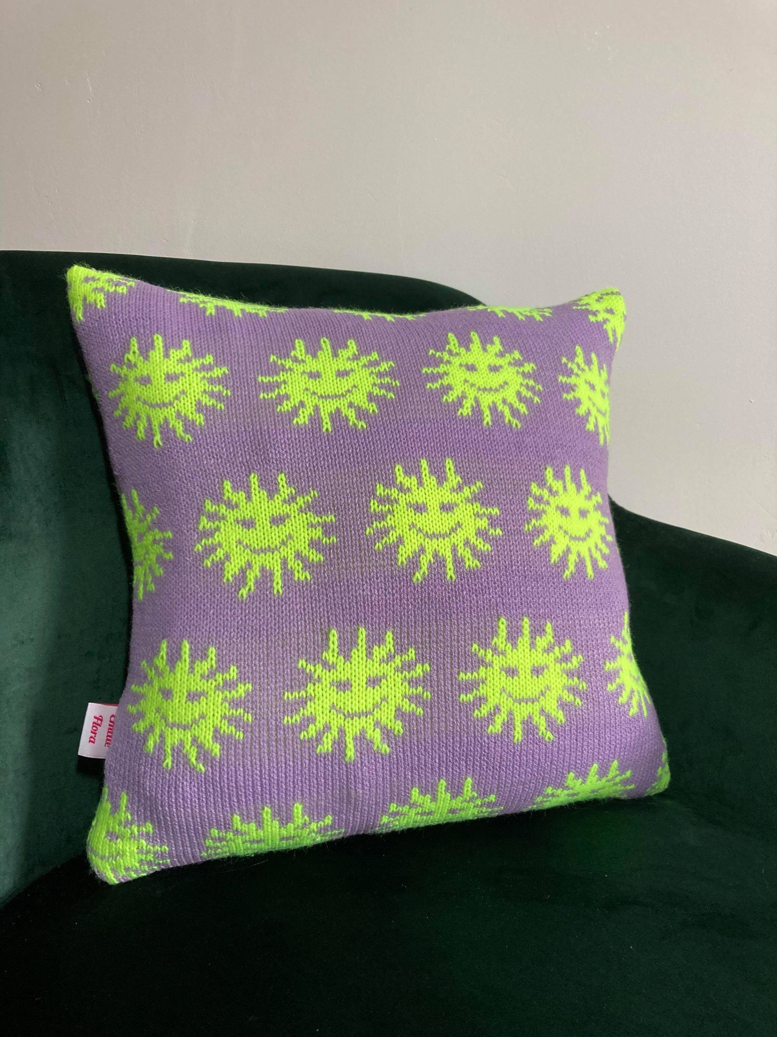 Sunny Cushion - Lilac and Neon Yellow
