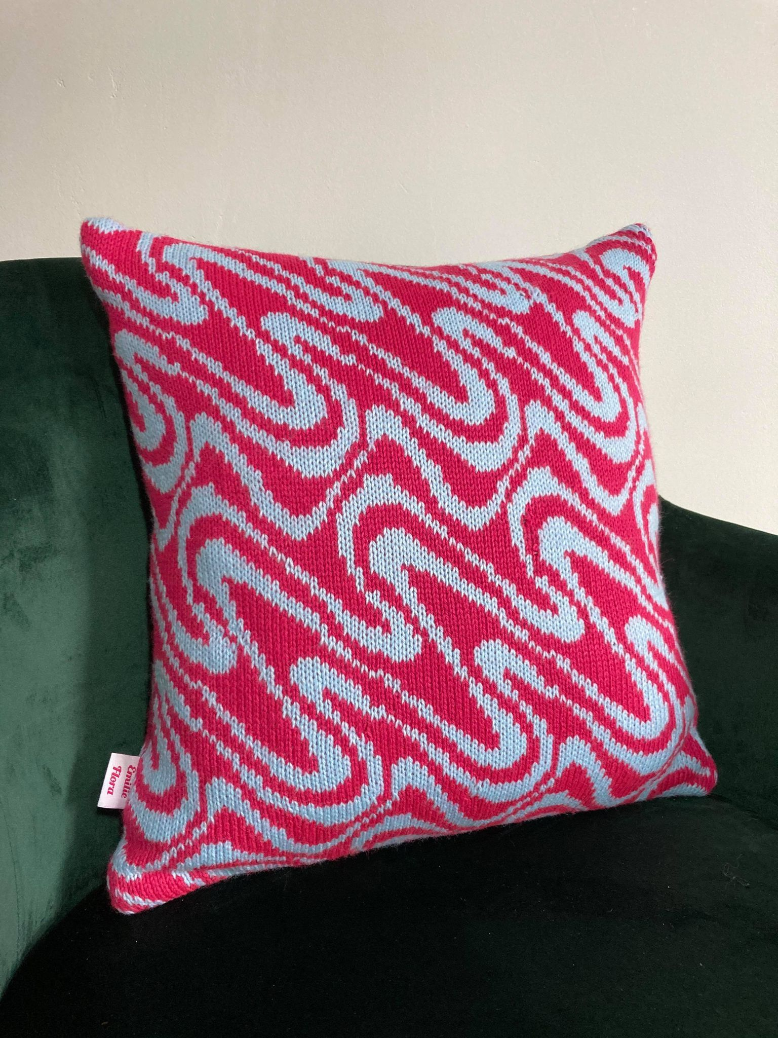 Swirly Cushion - Hot Pink andPale Blue