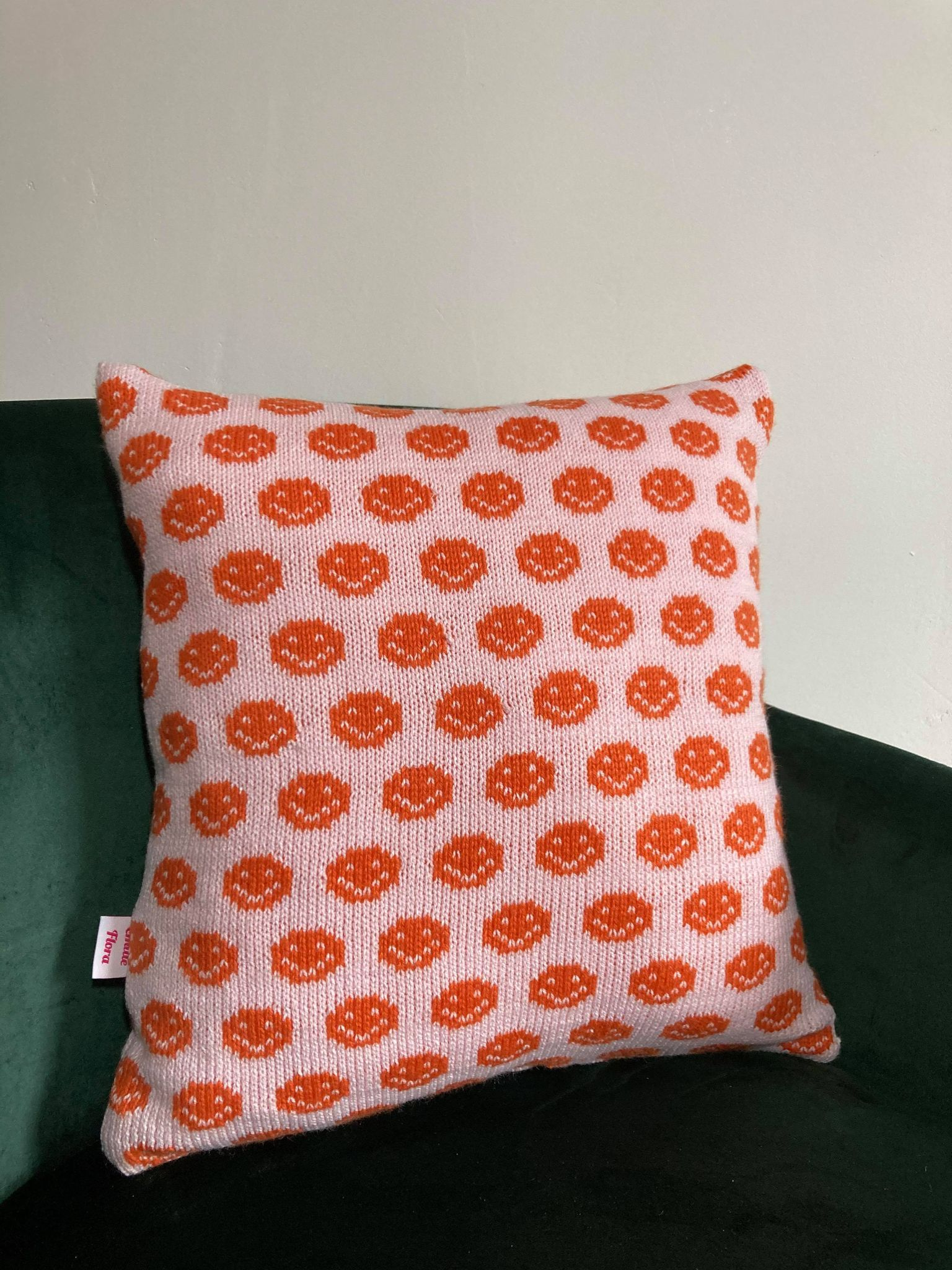 Smiley Cushion - Pale Pink and Orange
