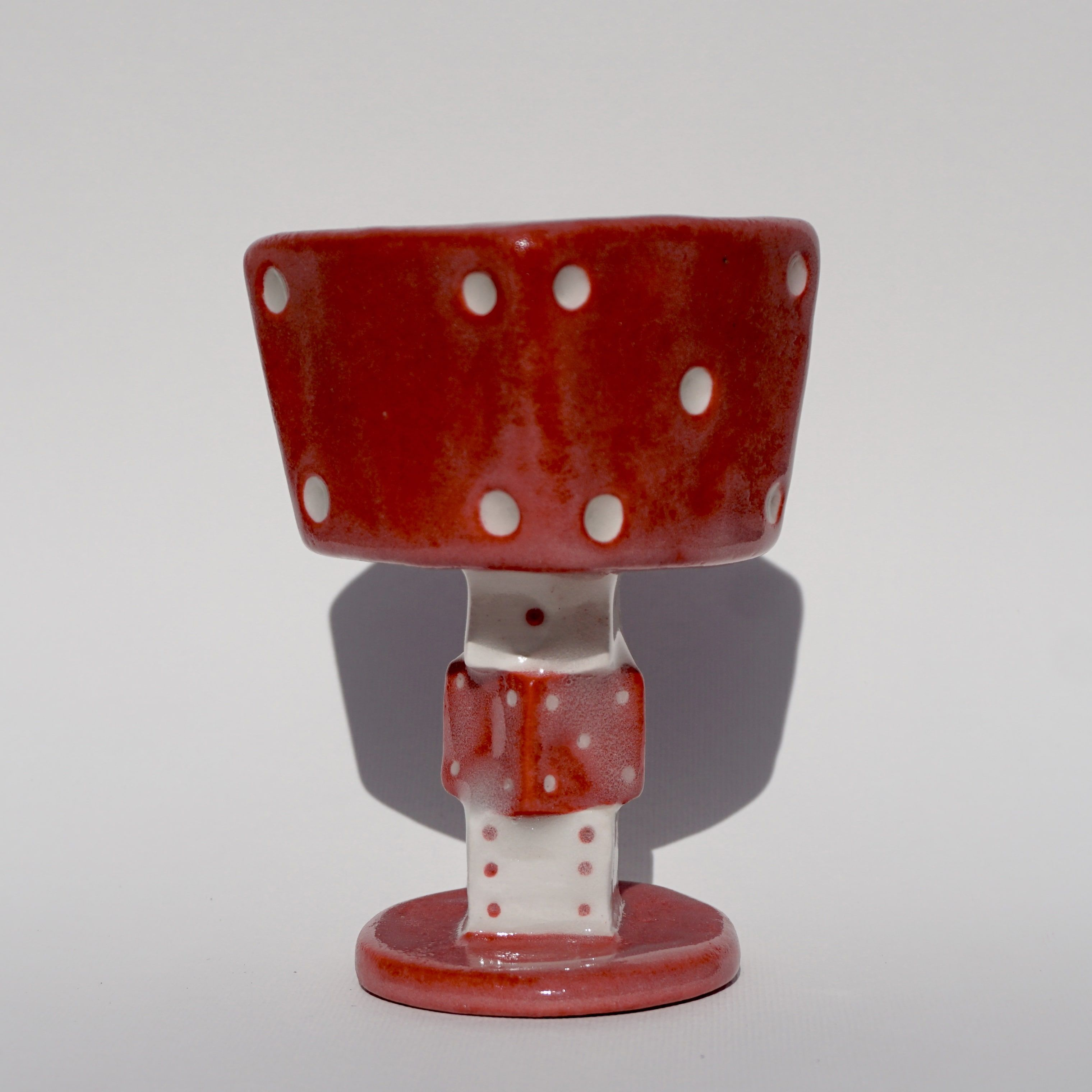 Red and White Ceramic Dice Goblet