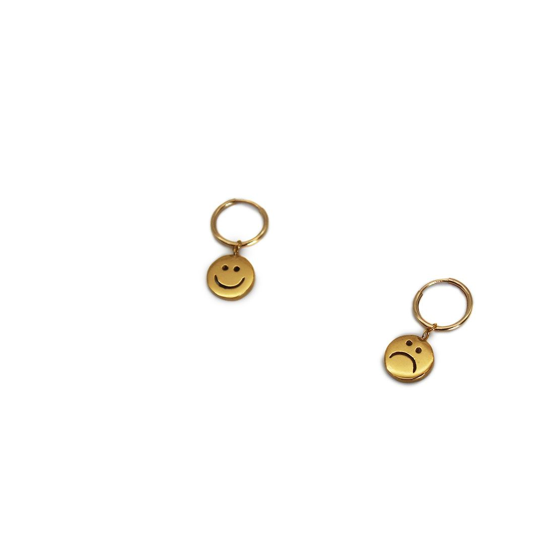 Gold Plated Smiley Hoops