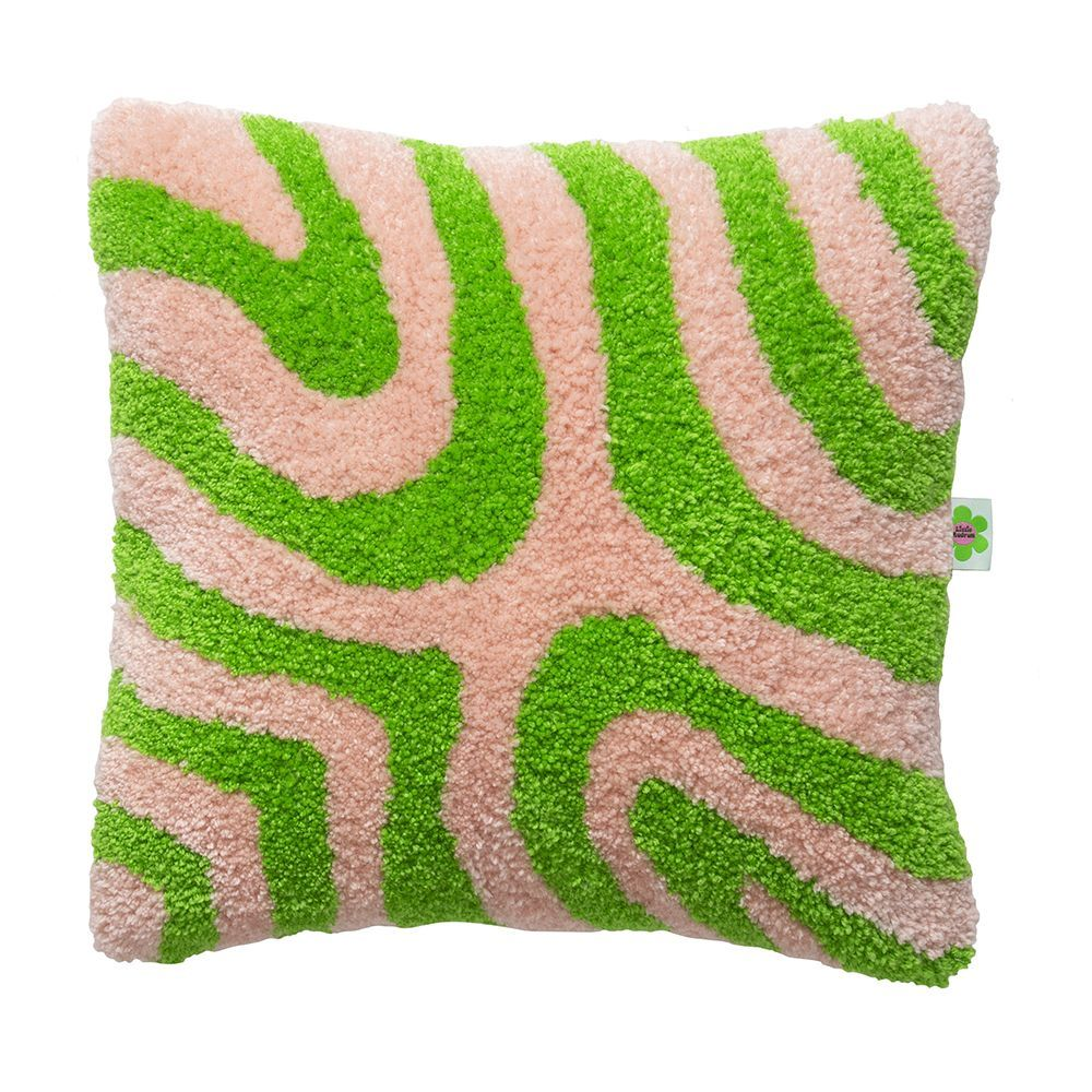 Psychedelic Melt Pattern - Tufted Punch Needle Cushion - Green & Pink
