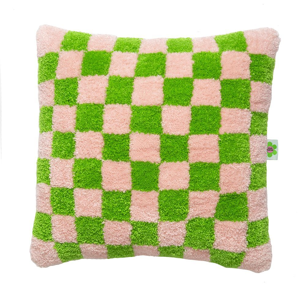 Checkerboard - Tufted Punch Needle Cushion - Green & Pink