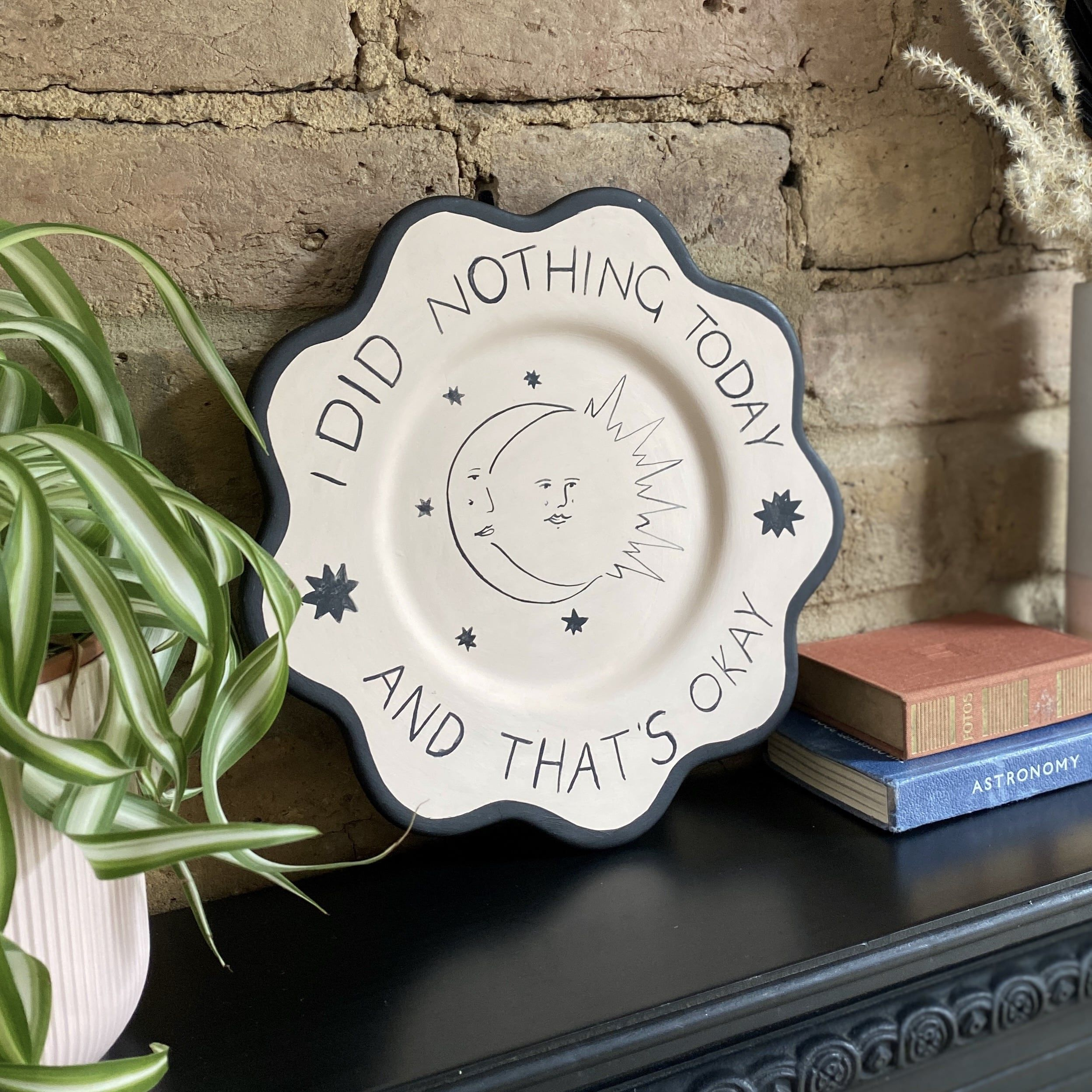 I did nothing today - Hand-painted decorative scalloped plate