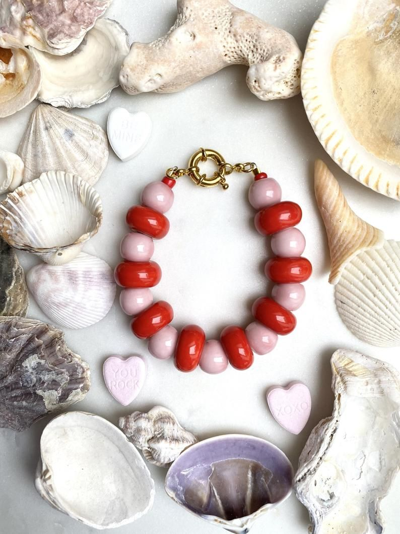 Chunky Ceramic Bead Bracelet Red and Pink