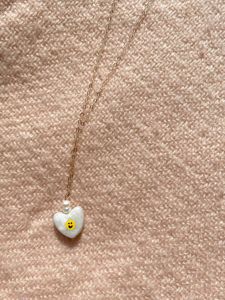smiley face charm drop necklace