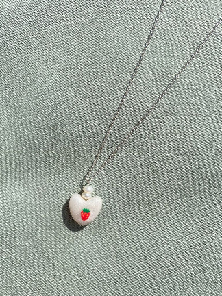 strawberry charm drop necklace