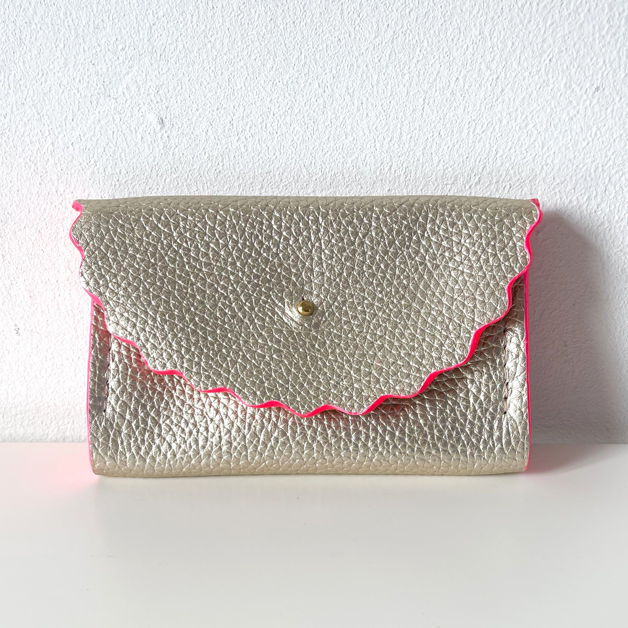 Champagne Silver Dora Purse with Neon Pink Edges